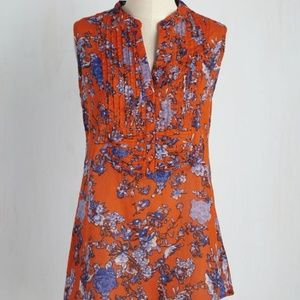 MODCLOTH - On Your Roam Floral Tunic M